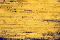 Kolor żółty ściana od cegieł dla tła Obrazy Royalty Free