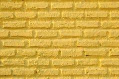 Kolor żółty ściana od cegieł dla tła Obraz Royalty Free