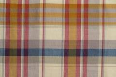 Kolor żółty, błękit i Czerwony szkockiej kraty płótno Strzelający w studiu, Obrazy Stock