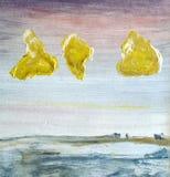 Kolor żółty chmury Obrazy Royalty Free