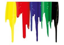 Kolor żółty, czerwień, błękit, zieleń, czarne smugi Obrazy Stock