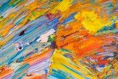 Kolor żółty, czerwień, błękitna farba na palecie zdjęcia royalty free