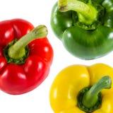Kolor żółty, czerwień i zieleni Słodcy dzwonkowi pieprze, (capsicum) Fotografia Stock