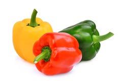 Kolor żółty, czerwień, zieleń, słodki dzwonkowy pieprz lub capsicum odizolowywający, Fotografia Stock