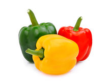 Kolor żółty, czerwień, zieleń, słodki dzwonkowy pieprz lub capsicum odizolowywający, Zdjęcie Stock