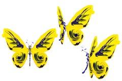 Kolor żółty i błękitna farba zrobiliśmy motyla setowi Obraz Royalty Free