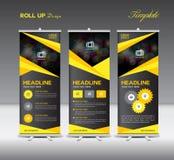 Kolor żółty i czerń Staczamy się Up sztandar informaci i szablonu grafika, stan Zdjęcie Royalty Free