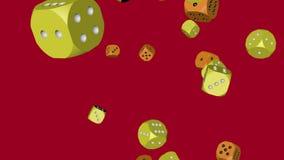 Kolor żółty i Pomarańczowe kolor kostki do gry Zderzający się zbiory wideo