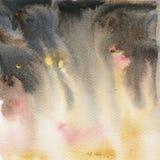 Kolor żółty i popielata ręka malująca akwareli tekstura Zdjęcie Royalty Free