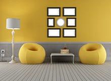 Kolor żółty i popielaty stary wnętrze ilustracji