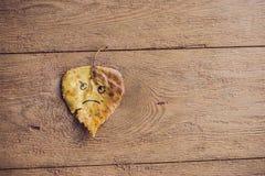 Kolor żółty i zieleń leaf z smutną twarzą na starym drewnianym tle zdjęcie stock