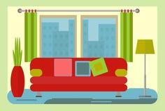 Kolor żółty izoluje żywego izbowego wnętrze z czerwoną kanapą i zieleni lampą Fotografia Stock