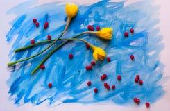 Kolor żółty kwitnie na błękitnym tle Zdjęcie Royalty Free