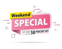 Kolor żółty menchii etykietki Weekendowy dodatek specjalny 50 procentów z promocyjnego strona internetowa sztandaru kłoszenia pro ilustracji