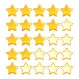 Kolor żółty oceny gwiazdowy set fotografia stock