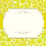 Kolor żółty ornamentująca karta z kwiecistym wzorem Fotografia Royalty Free