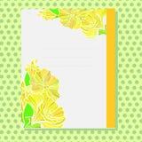 Kolor żółty ornamentująca karta z kwiecistym wzorem Zdjęcia Stock