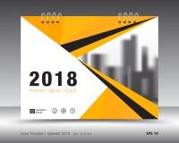 Kolor żółty pokrywy kalendarza 2018 szablon Fotografia Royalty Free