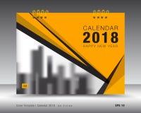 Kolor żółty pokrywy kalendarza 2018 szablon, biznesowa ulotka, książkowa pokrywa Obraz Royalty Free