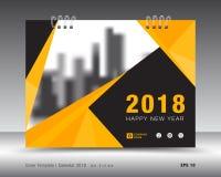 Kolor żółty pokrywy kalendarza 2018 szablon, broszurka układ Zdjęcia Royalty Free