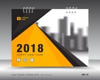 Kolor żółty pokrywy kalendarza 2018 szablon, druku pomysł Obraz Stock