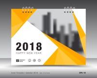 Kolor żółty pokrywy kalendarza 2018 szablon, druku projekt Zdjęcie Stock
