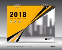 Kolor żółty pokrywy kalendarza 2018 szablon, książkowej pokrywy projekt Obraz Royalty Free