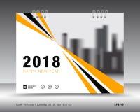 Kolor żółty pokrywy kalendarza 2018 szablon, plakatowy układ Obraz Royalty Free