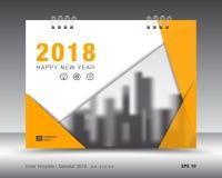 Kolor żółty pokrywy kalendarza 2018 szablon, profilowy układ Zdjęcia Royalty Free