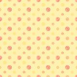 Kolor żółty polki kropki ciepłej abstrakcjonistycznej tkaniny bezszwowy wzór Obraz Royalty Free