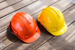 Kolor żółty, pomarańczowy ciężki zbawczego hełma budowy kapelusz dla bezpieczeństwa pr Zdjęcia Stock