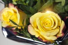 Kolor żółty róża w bukiecie Zdjęcie Stock