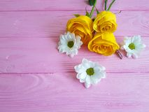 Kolor żółty róży chryzantemy elegancki ramowy rocznik na różowym drewnianym tle Fotografia Stock