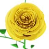 Kolor żółty róży zakończenie up odizolowywający na białym tle Fotografia Stock