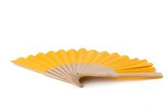 Kolor żółty ręki Otwarty fan Odizolowywający na Białym tle piękny taniec para strzału kobiety pracowniani young Ostrości sztaplow Fotografia Stock
