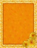 Kolor żółty rama z kwiatami i ślimakowatym tłem Zdjęcia Stock