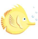 Kolor żółty ryba na białym tle Zdjęcia Royalty Free