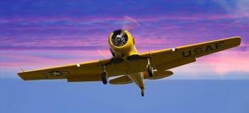 Kolor żółty samolot Obrazy Royalty Free