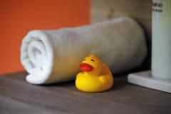 Kolor żółty skąpania kaczka Zdjęcia Royalty Free