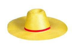 Kolor żółty wyplata plastikowego kapelusz Fotografia Royalty Free