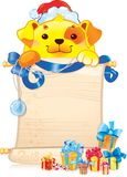 Kolor żółty ziemi pies z ślimacznicą i boże narodzenie ornamentem ilustracja wektor