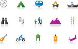 kolor campingowy ikony zestaw Fotografia Royalty Free