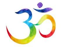 7 kolor chakra om, aum symbolu pojęcie, akwarela obraz royalty ilustracja