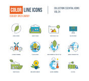 Kolor cienkie Kreskowe ikony ustawiać Ekologia, zielona energia, mądrze dom, Obrazy Royalty Free