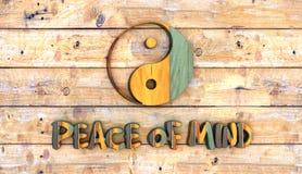 kolor drewniana deska z yin Yang Zdjęcia Royalty Free
