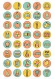 Kolor edukaci ikony ustawiać Zdjęcia Stock