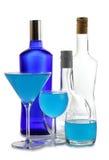 Alkohol w błękitnej butelce zdjęcia stock