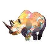 Kolor ilustracja nosorożec royalty ilustracja