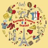 Kolor ilustracja travel_6_to Europa Francja, symbole i attrac, ilustracja wektor