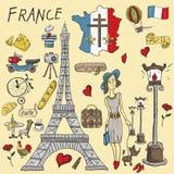 Kolor ilustracja travel_1_to Europa Francja, symbole i attrac, ilustracji